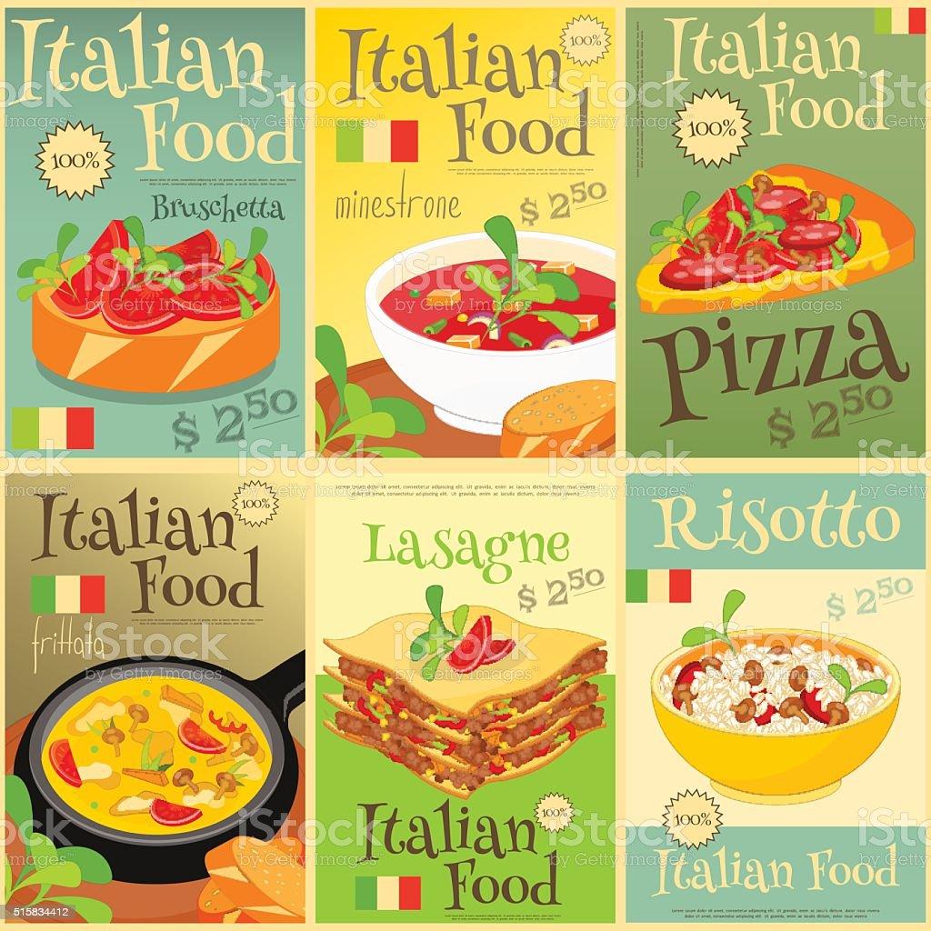 cucina italiana poster impostare illustrazione royalty free
