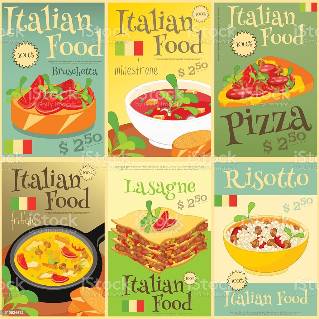 Italian Food Posters Set vector art illustration