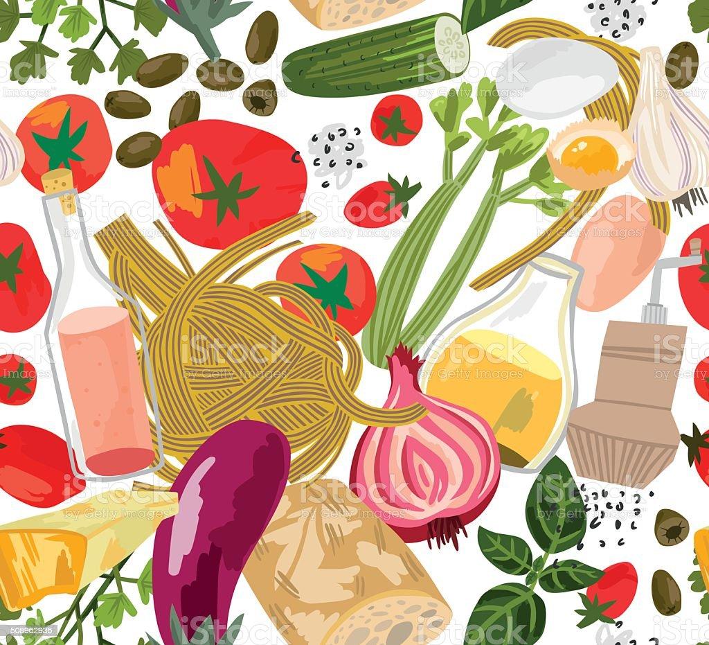 Italian Food Seamless Background vector art illustration