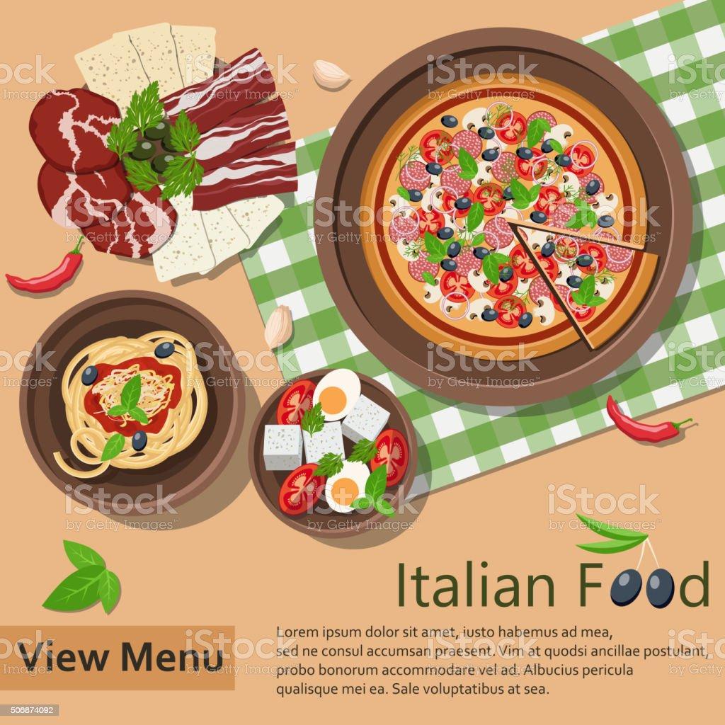 Italian food. Vector Illustration vector art illustration