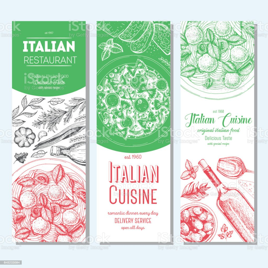 Italian food vintage design template. Vertical banners set. vector art illustration