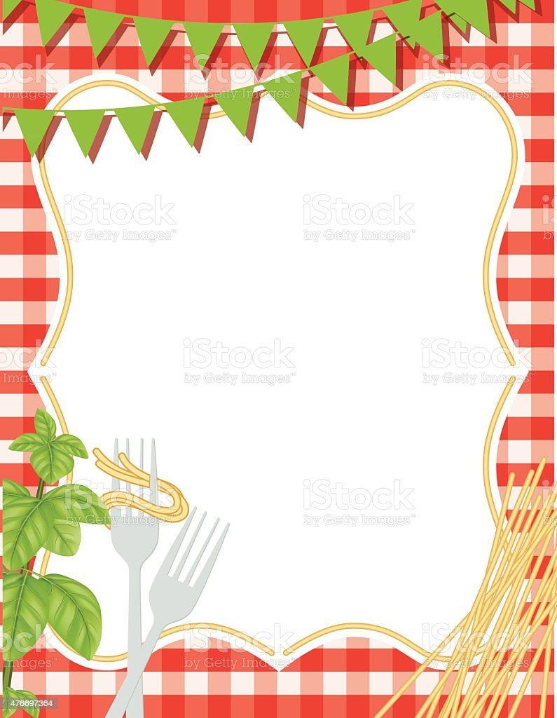 Italian Foods Pasta Background With Frame Stock Vector Art