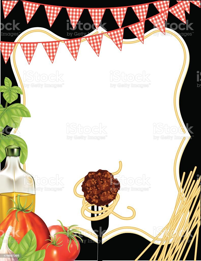 Italian Foods Pasta Background With Frame vector art illustration