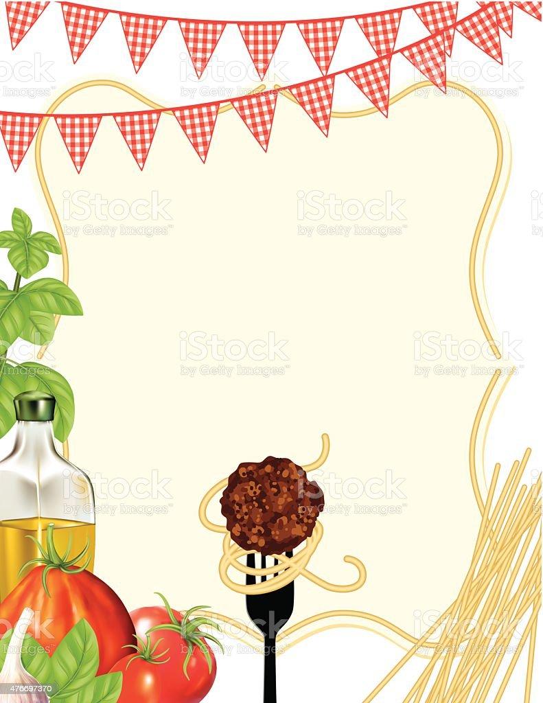 Italian Foods Pasta Background With Frame vector art illustration
