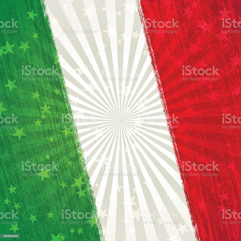 Italian holiday background[Paint brush stroking flag] vector art illustration