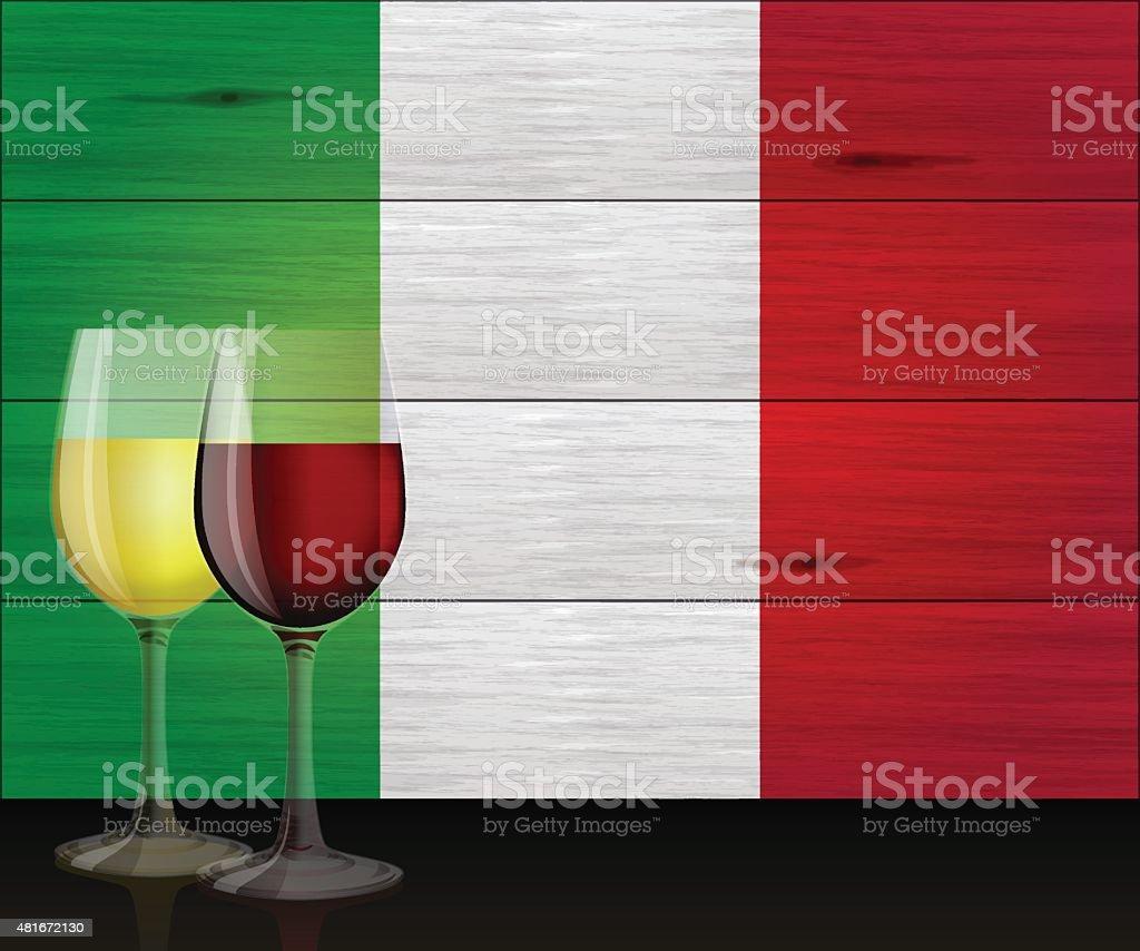 Italian holiday background[Wine and Flag] vector art illustration
