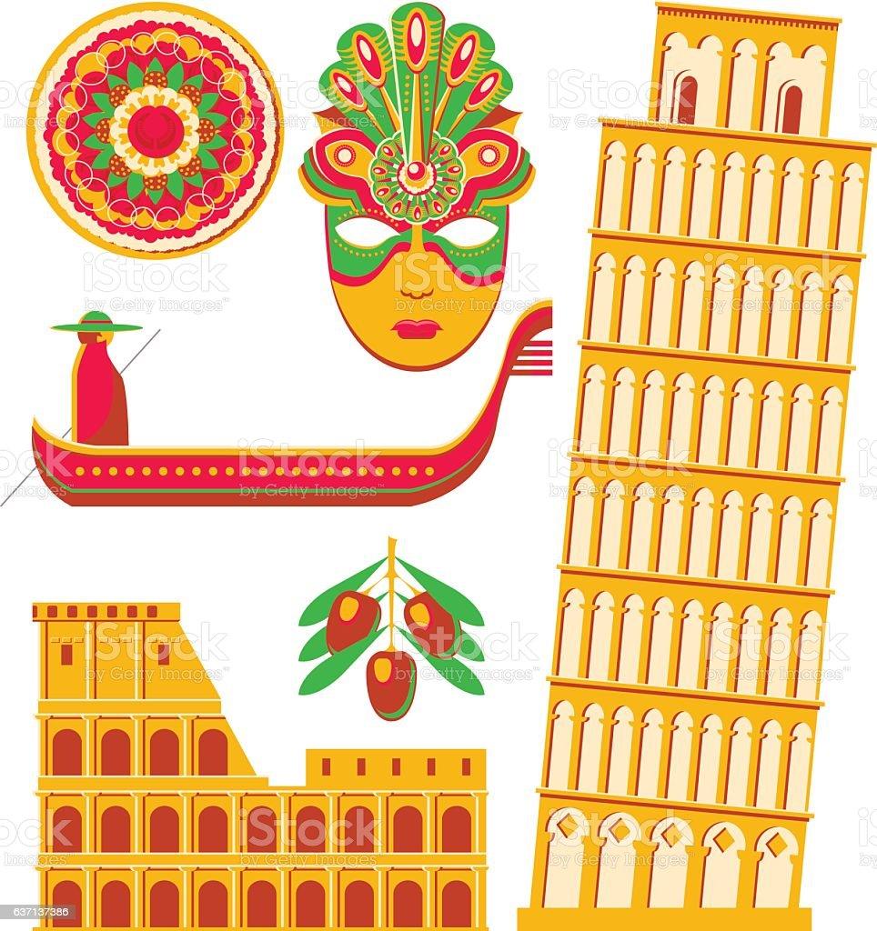 Italian Landmarks vector art illustration