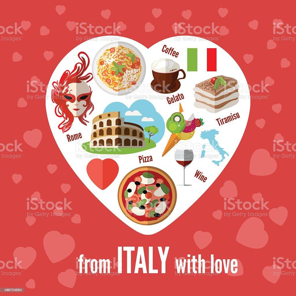 Italian love - heart shape with vector icons. vector art illustration