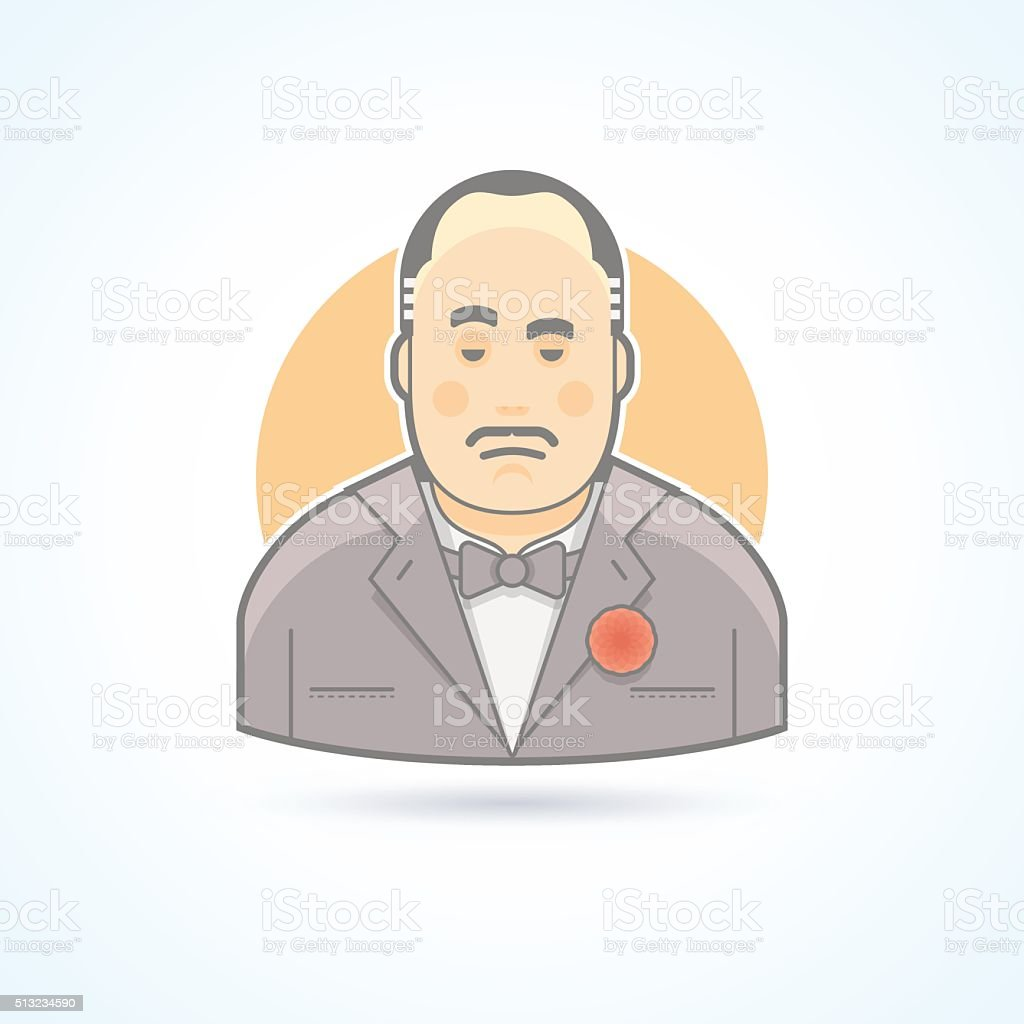 Italian mafiosi, criminal leader, Don Corleone icon. vector art illustration