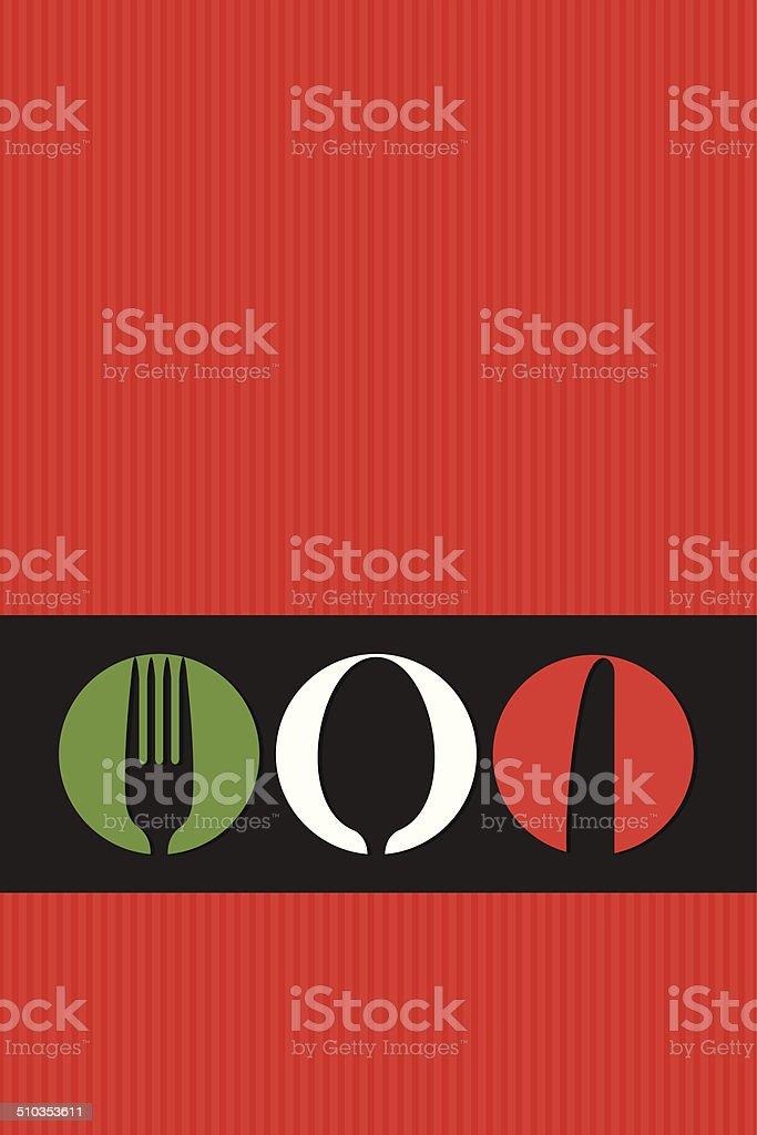 Italian menu design with cutlery symbols vector art illustration