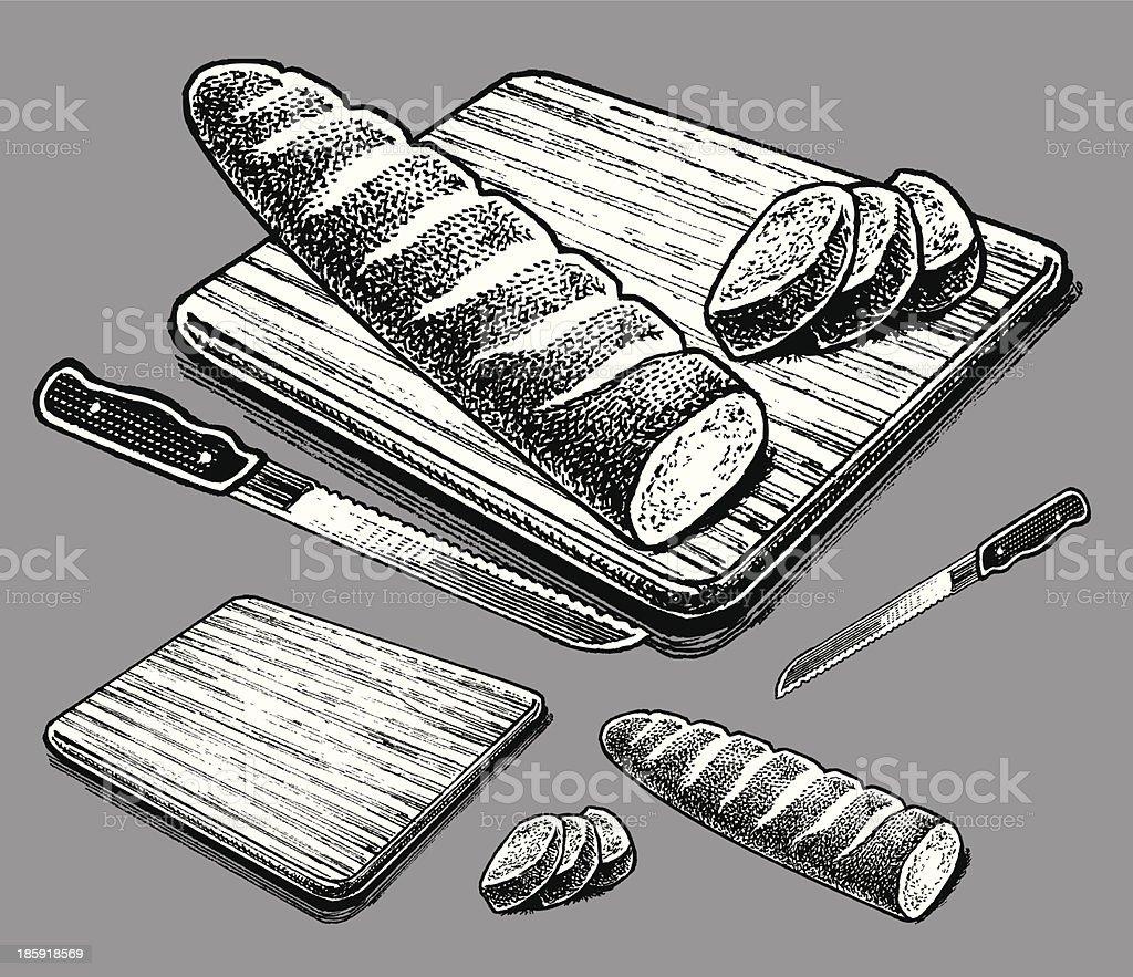 Italian or French Bread vector art illustration