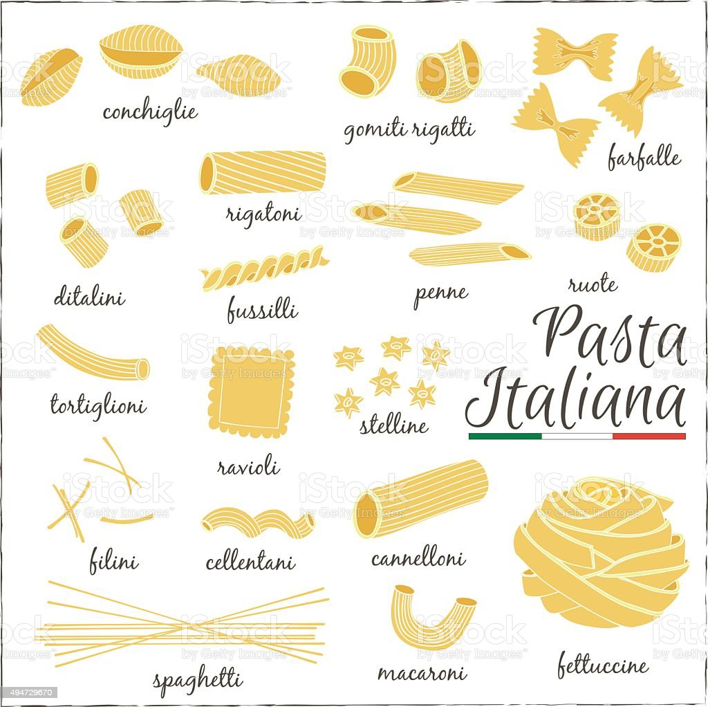 Italian Pasta collection drawings. Sketches. vector art illustration