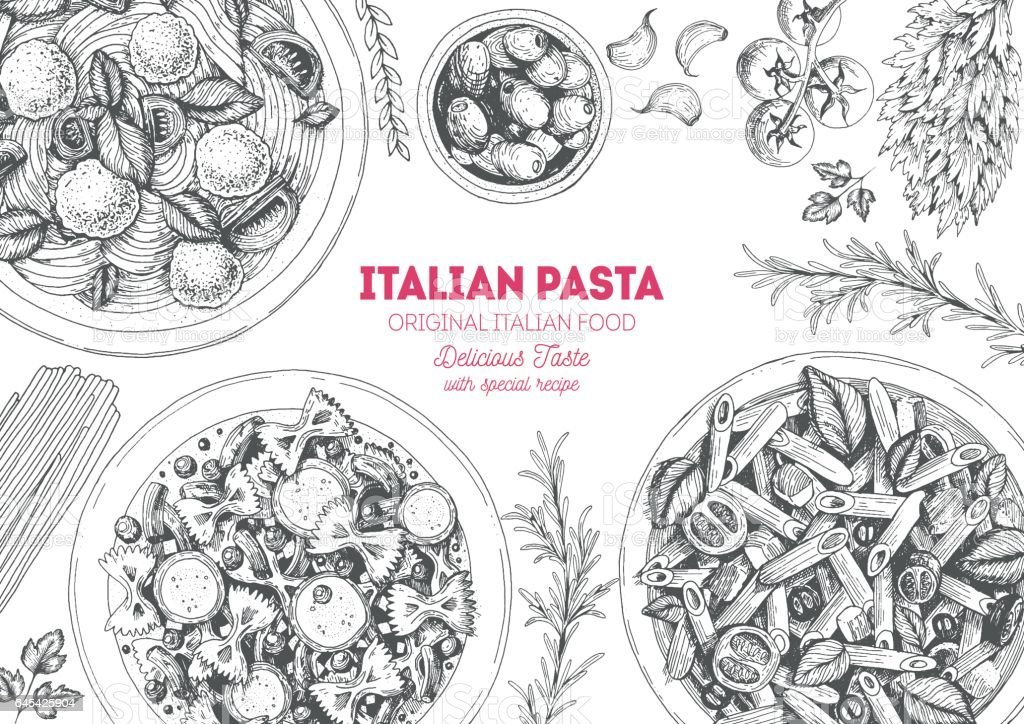 Italian pasta frame. vector art illustration