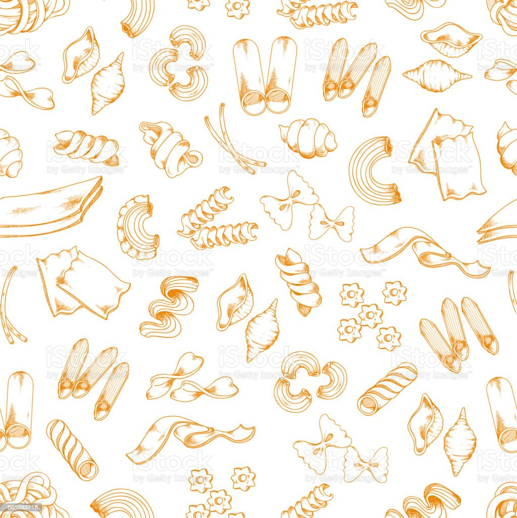 Italian pasta sketch vector seamless pattern vector art illustration