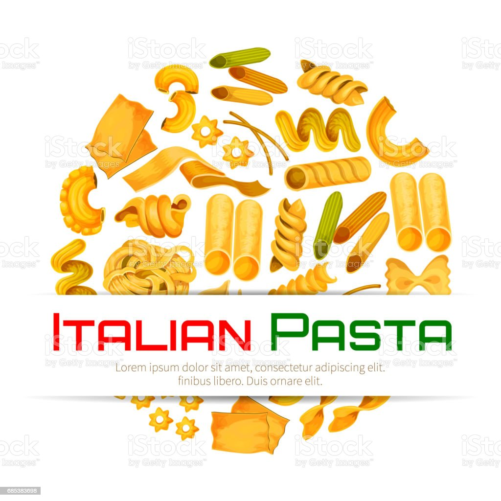 Italian pasta vector poster or menu vector art illustration