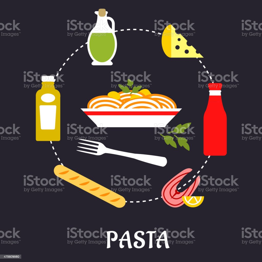 Italian pasta with ingredients flat infographic vector art illustration