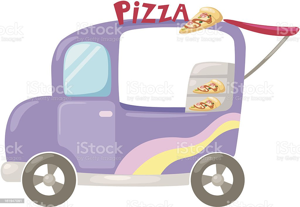 Italian pizza delivery car . Vector royalty-free stock vector art