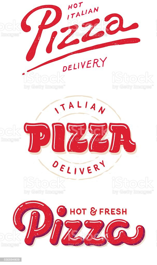 italian pizza labels, logos for pizzeria vector art illustration
