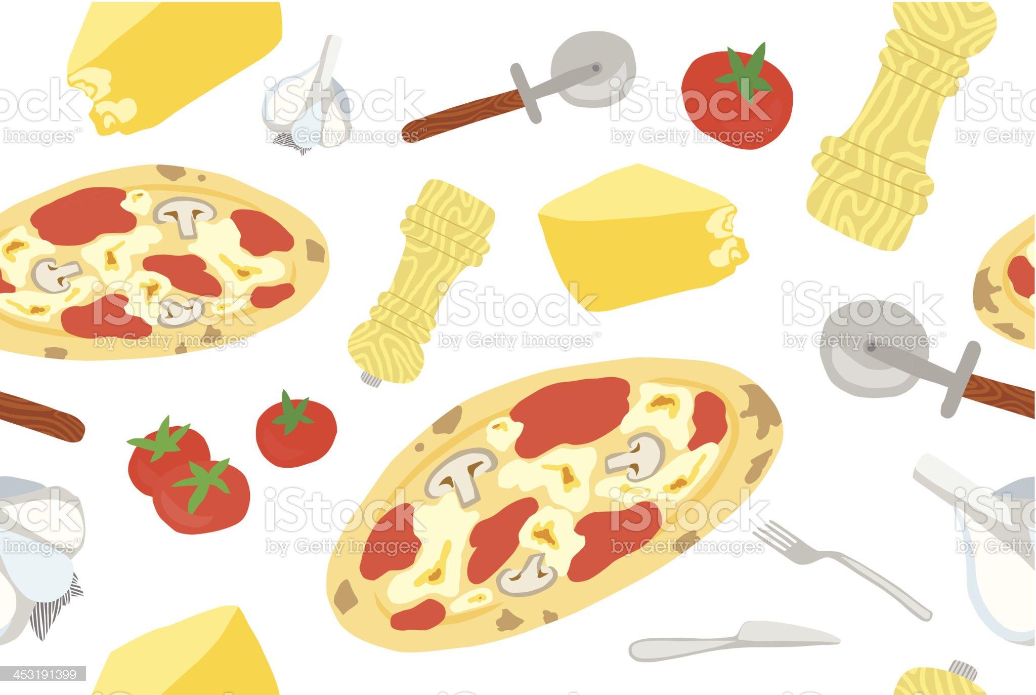 Italian Pizza Seamless Pattern royalty-free stock vector art