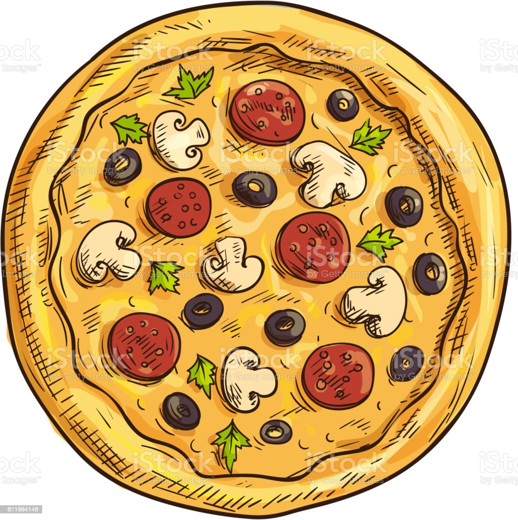 Italian pizza sketch for pizzeria and cafe design vector art illustration