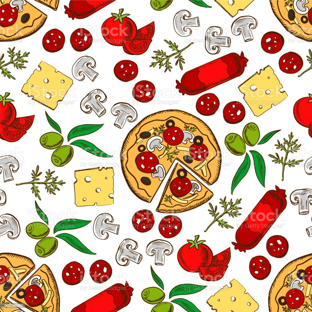 Italian pizza with ingredients seamless pattern vector art illustration
