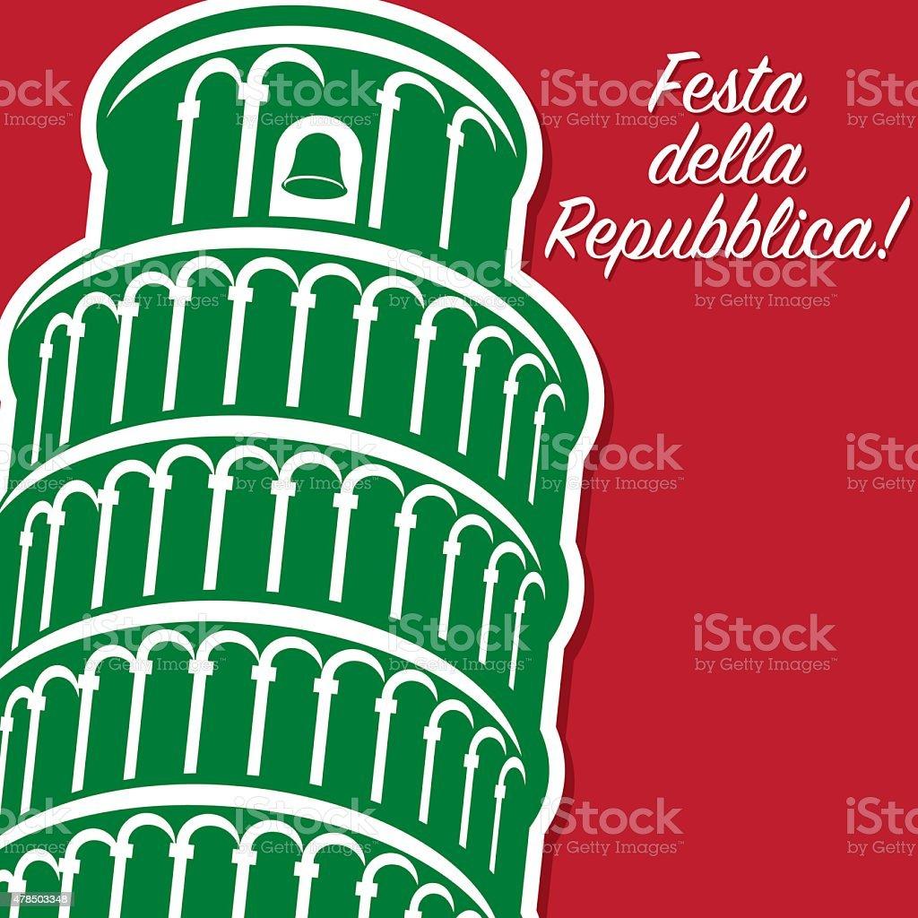 Italian Republic Day card in vector format. vector art illustration