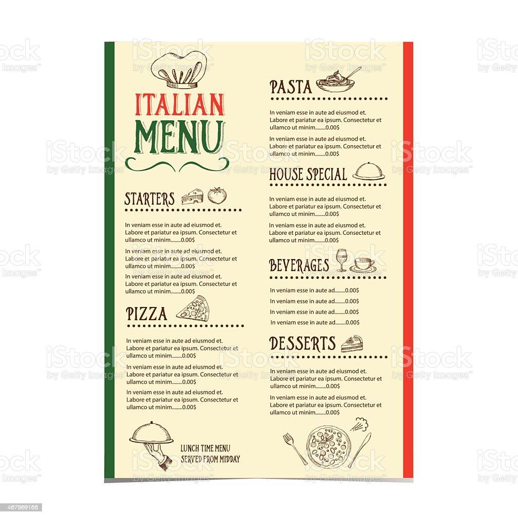 Italian restaurant menu with a variety of choices vector art illustration