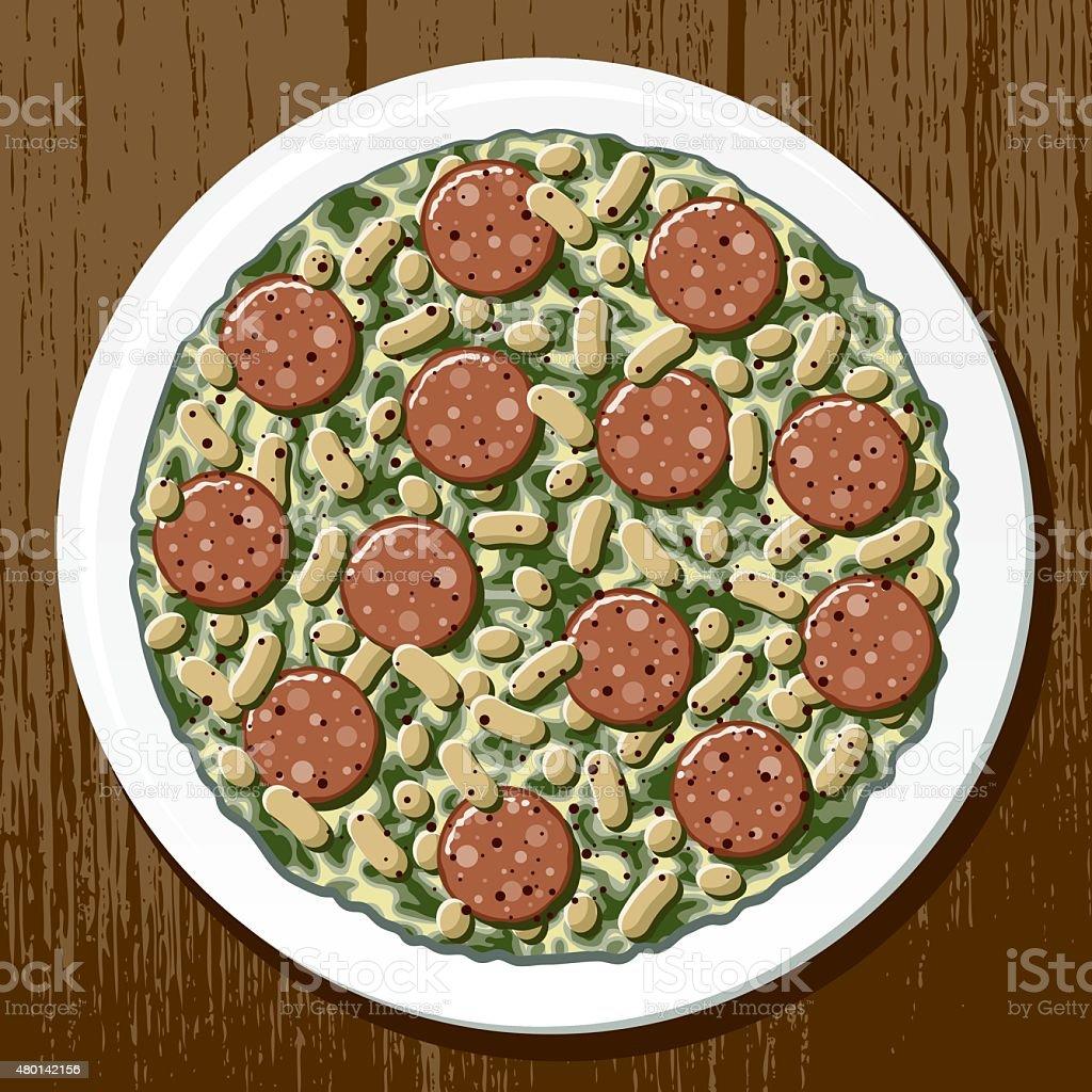 Italian Sausage, White Bean and Kale Soup vector art illustration