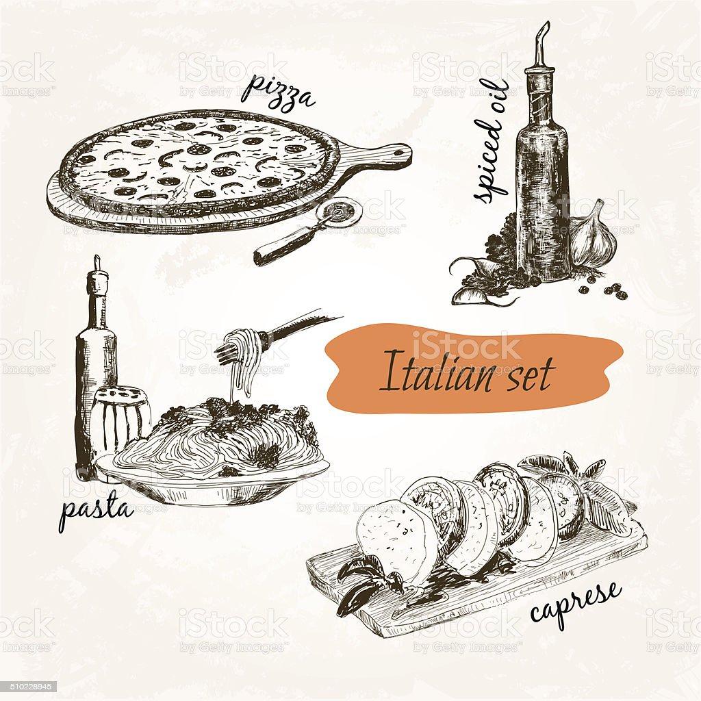 Italian set vector art illustration