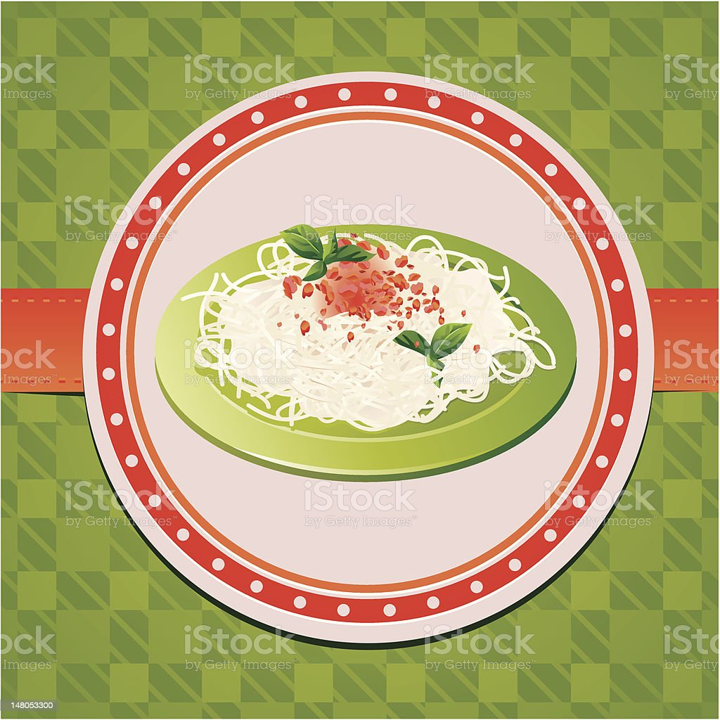 italian spaghetti on green plate royalty-free stock vector art