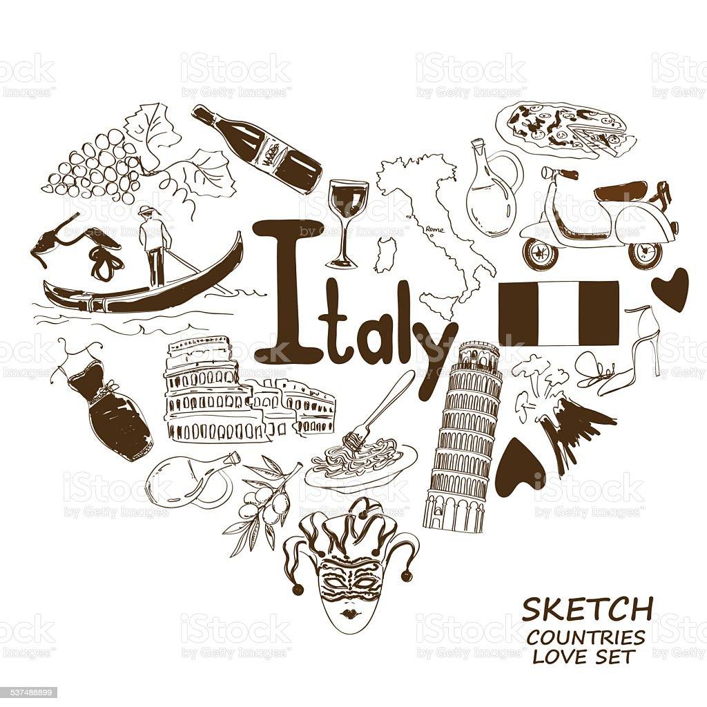 Italian symbols in heart shape concept vector art illustration