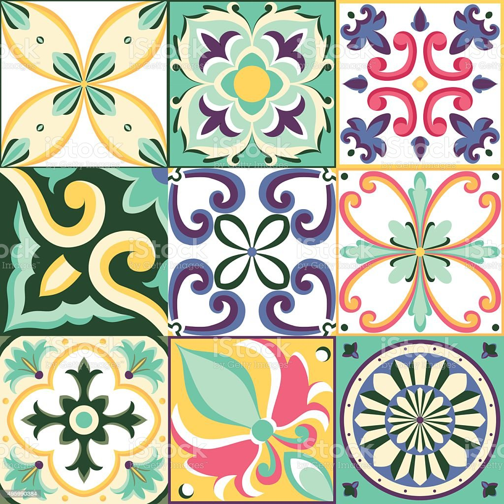 Italian tile vector art illustration