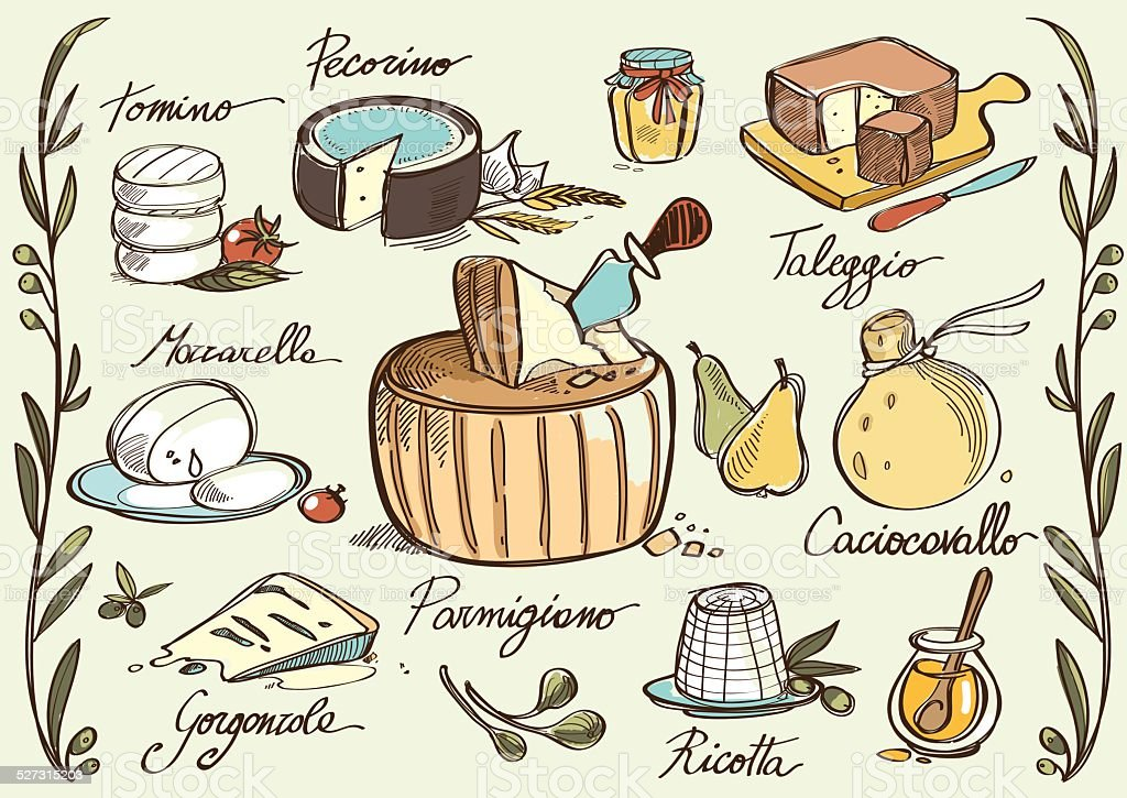 Italian traditional cheese vector art illustration
