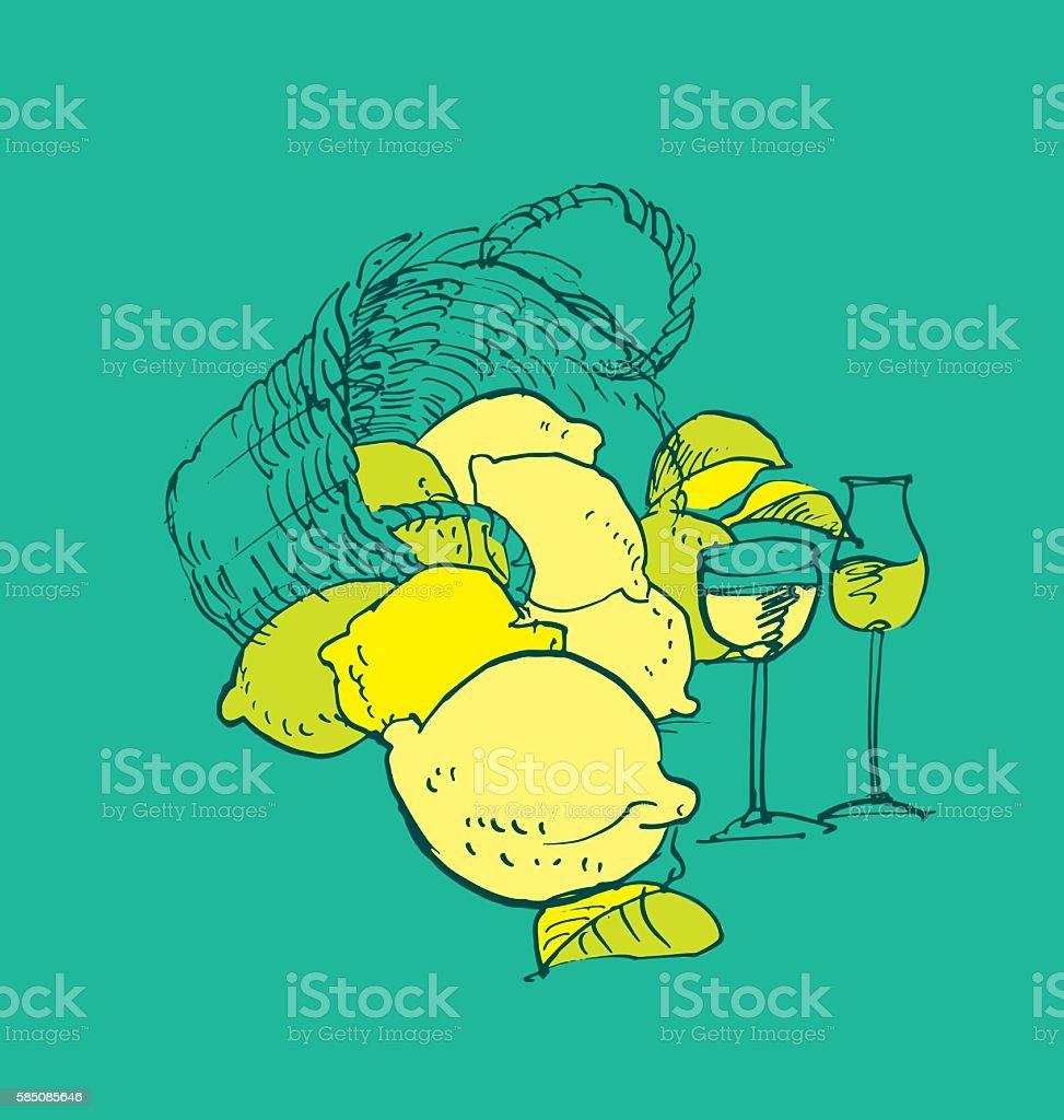 Italian traditional limoncello. shabby concept lemon liqueur ima vector art illustration