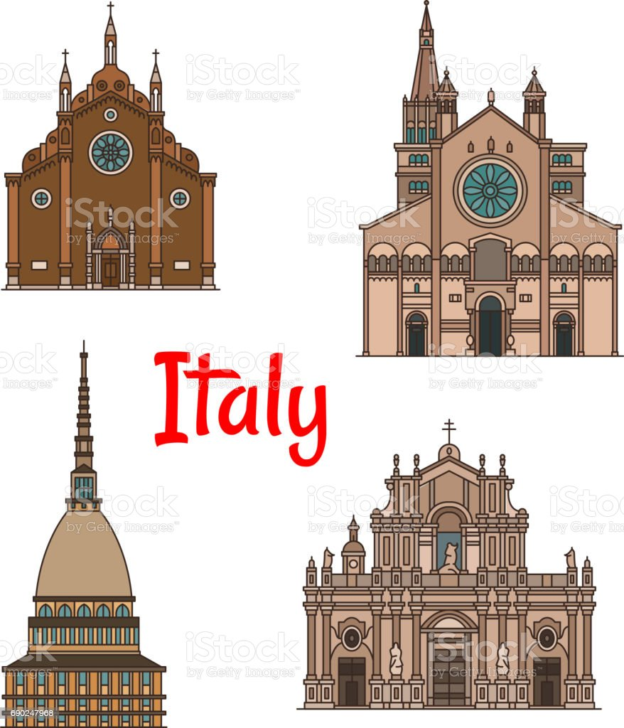 Italian travel landmark building icon set vector art illustration