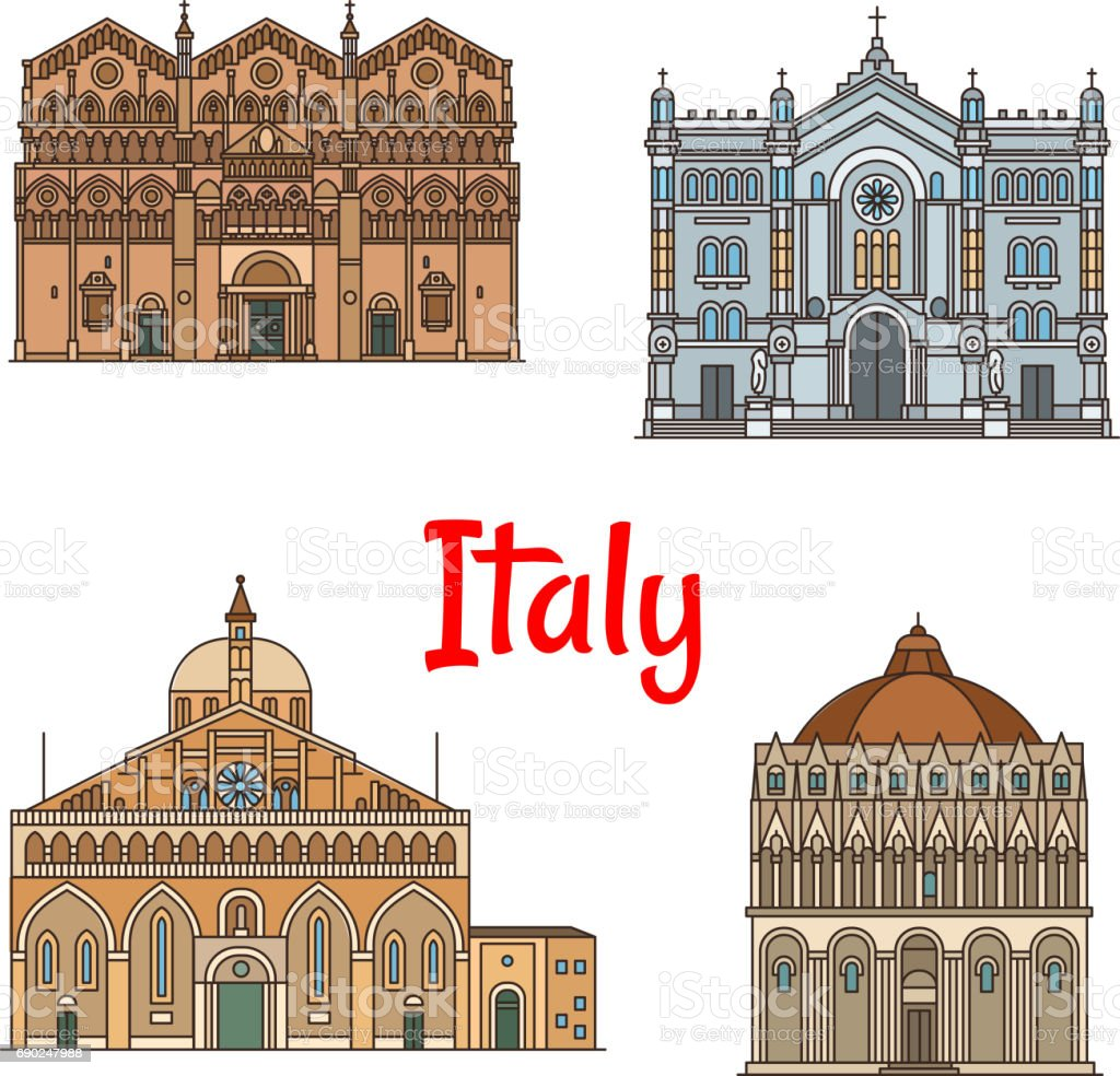 Italian travel landmark thin line icon set design vector art illustration