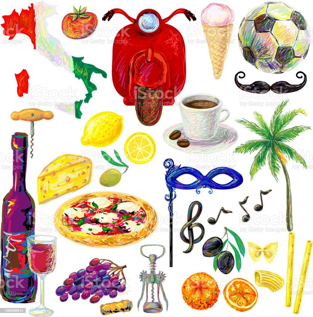 Italian travel traditional symbol set vector art illustration