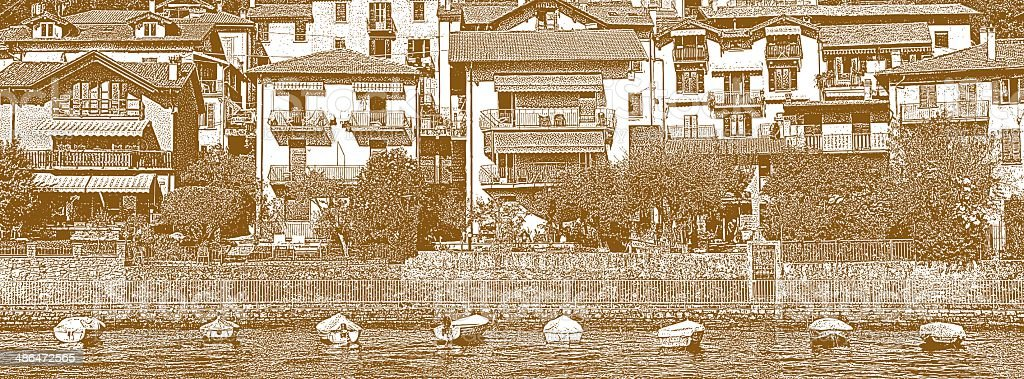 Italian Villas and Boats on Lake Como, Italy vector art illustration
