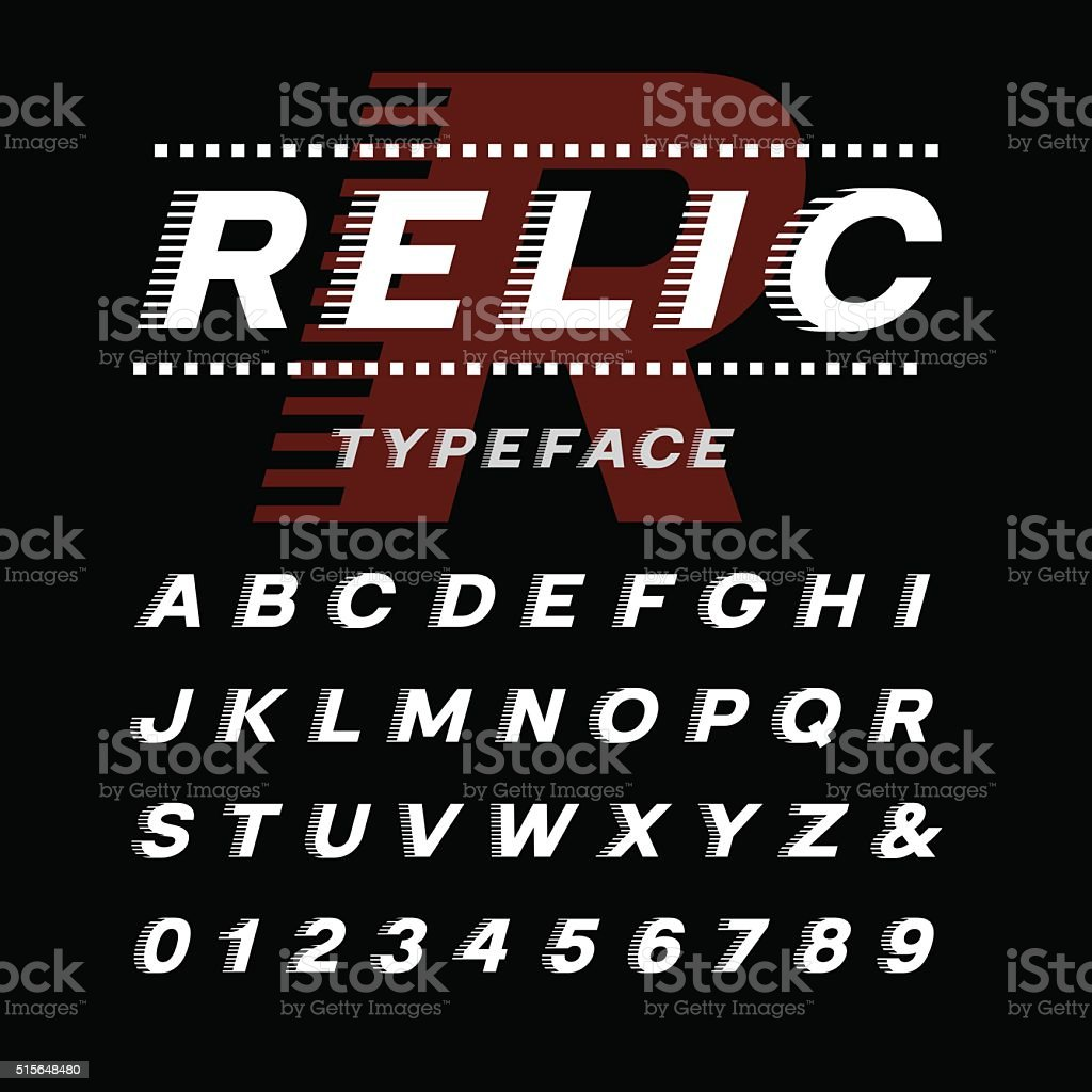 Italic font. Vector alphabet with latin letters and numbers. vector art illustration