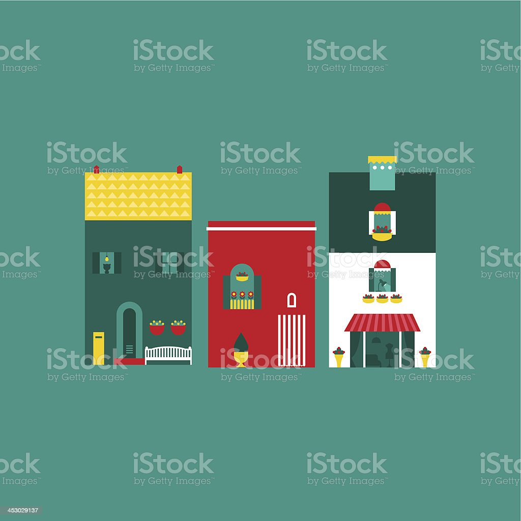 Itallian street houses royalty-free stock vector art