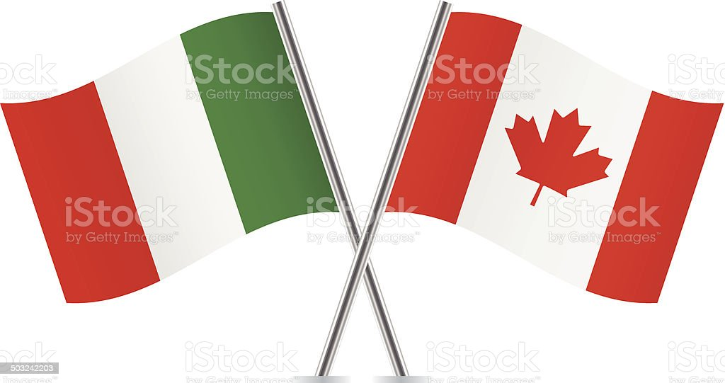 Italy and Canada flags. royalty-free stock vector art