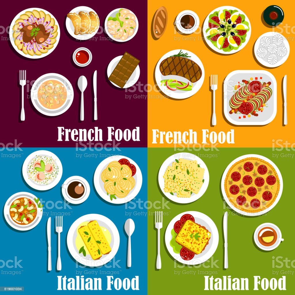 Italy and France cuisine dishes vector art illustration