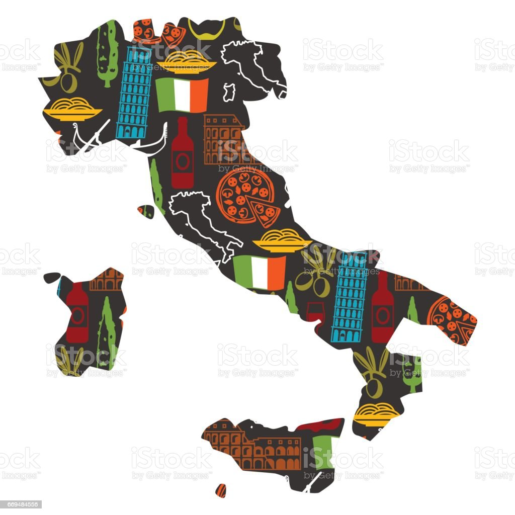 Italy background design in shape of map. Italian symbols and objects vector art illustration