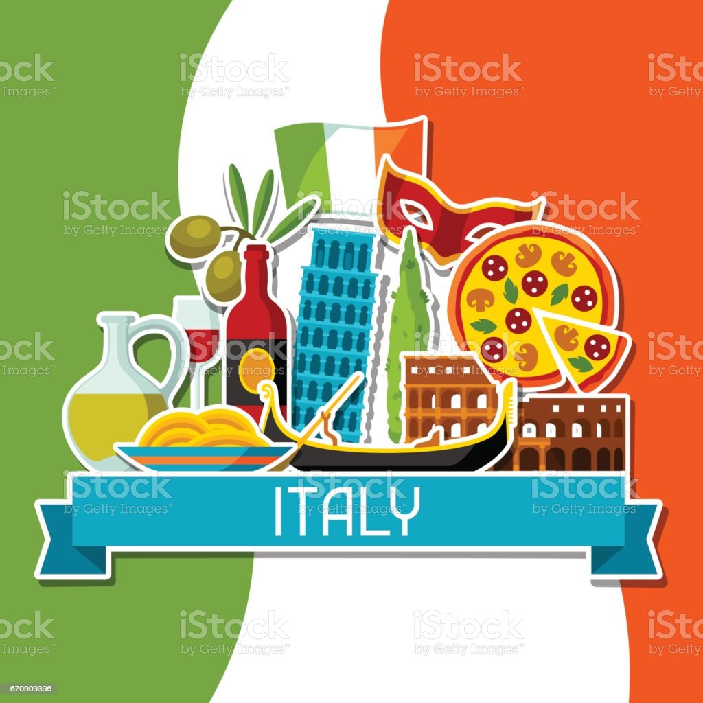 Italy background design. Italian sticker symbols and objects vector art illustration
