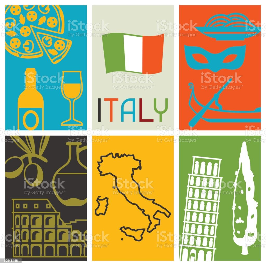 Italy background design. Italian symbols and objects vector art illustration