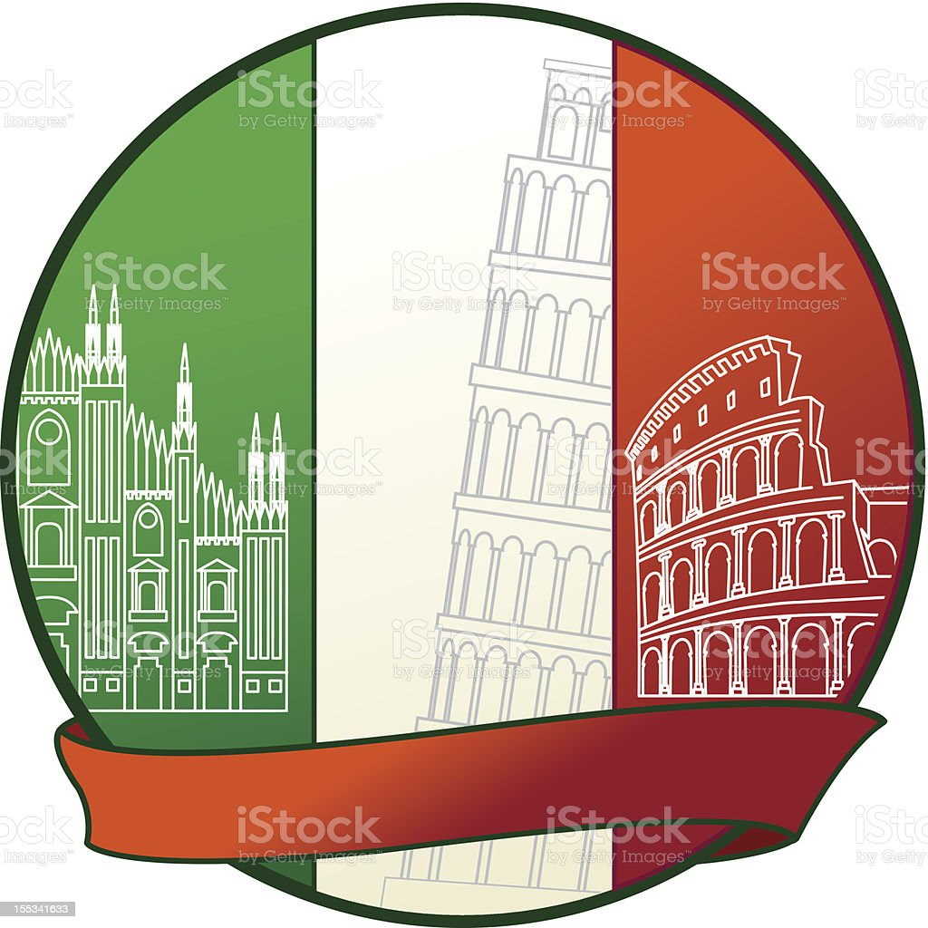 Italy Badge with Famous Italian buildings royalty-free stock vector art