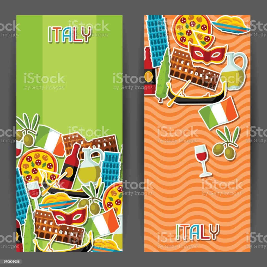 Italy banners design. Italian sticker symbols and objects vector art illustration