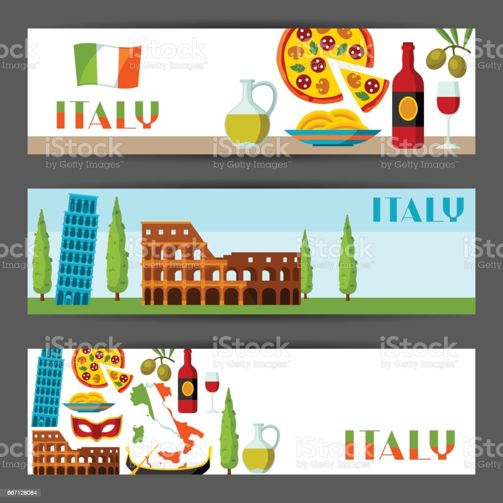 Italy banners design. Italian symbols and objects vector art illustration