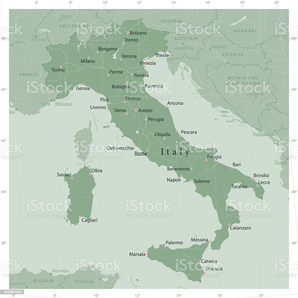 Italy Country Vector Map Olive Green vector art illustration