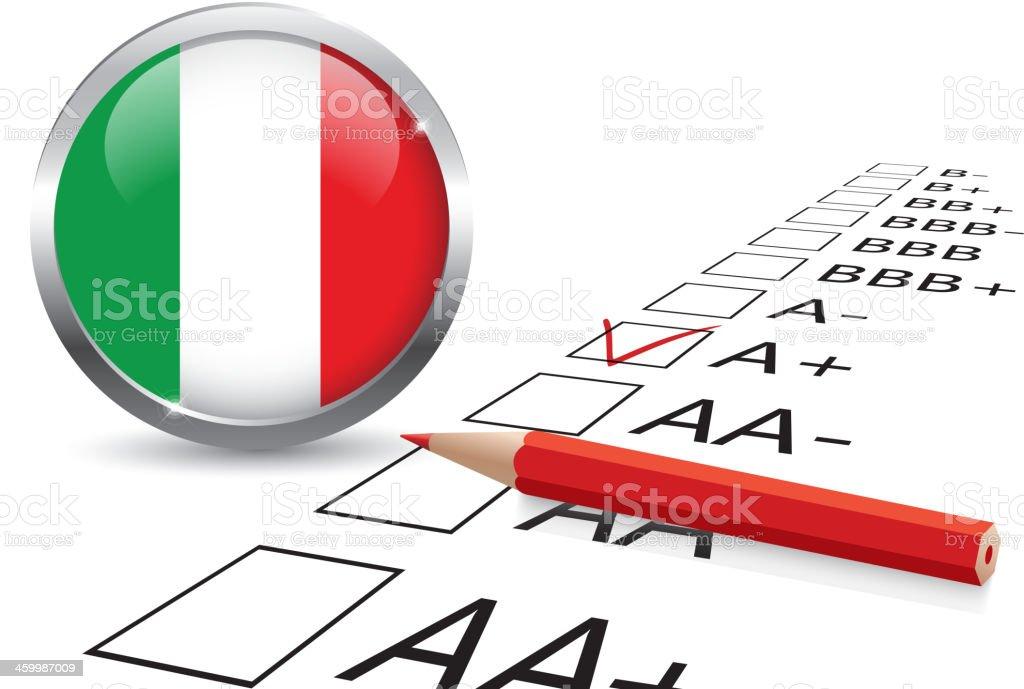 Italy credit rating royalty-free stock vector art